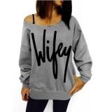 Review Long Lle Loose Letter Dicetak Wanita S Fashion Off Bahu Sweatshirts Pullover Tee Kasual Atasan Strapless