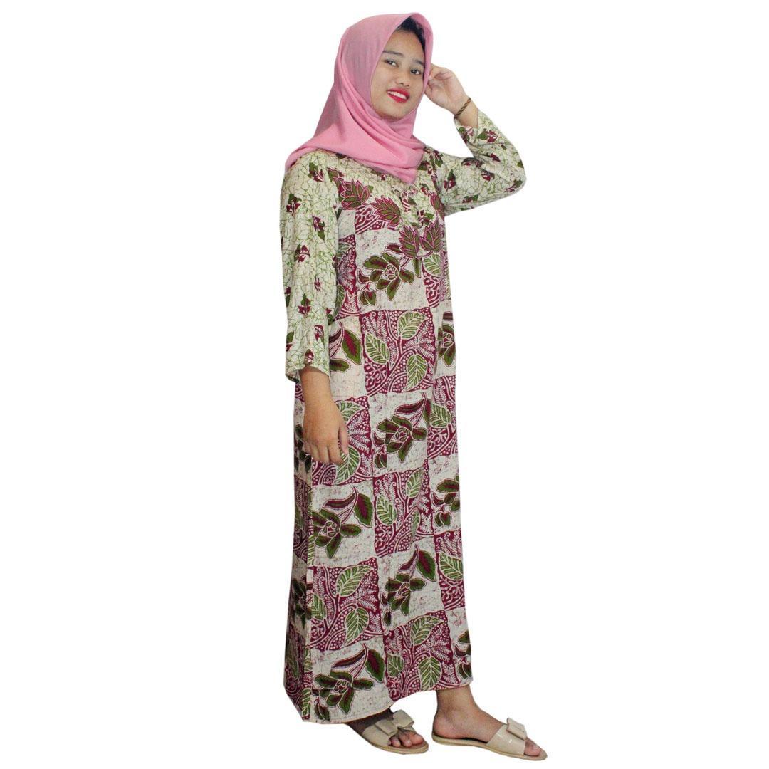 Longdres Batik, Daster Lengan Panjang Batik, Baju Tidur, Piyama, Leher Kerut (