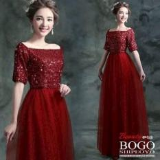 [Longdress Dyana Red FT] Dress Wanita Spandek Payet Merah