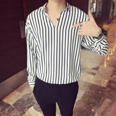 Longgar Ala Inggris Musim Gugur Baru Pria Lengan Panjang Kemeja (Hitam) Baju Atasan Kaos Pria Kemeja Pria