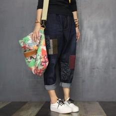 Longgar Angin Nasional Stiker Ikat Elastis Ukuran Besar Kasual Celana Panjang Gelap Jeans (Angkatan Laut