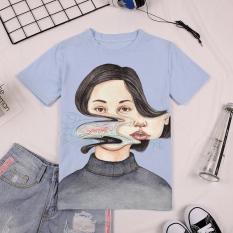 Longgar Awal Musim Semi Baru Pakaian Wanita Kaos (Biru Muda)
