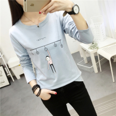 Harga Longgar Baru Musim Gugur V Neck Lengan Panjang T Shirt 189 Biru Yang Murah