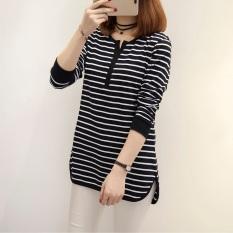 Kaos Baru Baju Dalaman Kerah V Pakaian Luar (157 (Garis Hitam))