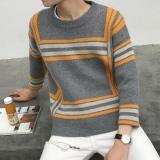 Harga Longgar Bening Musim Dingin Baru Sweater Pria Coklat Muda 909 Oranye Strip Tiongkok