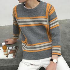 Review Longgar Bening Musim Dingin Baru Sweater Pria Coklat Muda 909 Oranye Strip Oem