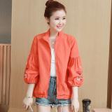 Harga Pakaian Bisbol Wanita Model Pendek Bordiran Versi Korea Oranye Oranye Murah