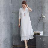 Harga Longgar Etnis Angin Kain Linen Warna Solid Lengan Kelima Gaun Lapisan Ganda Gaun Putih Baju Wanita Dress Wanita Gaun Wanita Yang Murah