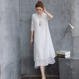 Harga Longgar Etnis Angin Kain Linen Warna Solid Lengan Kelima Gaun Lapisan Ganda Gaun Putih Baju Wanita Dress Wanita Gaun Wanita Fullset Murah