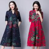 Top 10 Longgar Etnis Angin Perempuan Lengan Panjang Baru Rok Gaun Biru Baju Wanita Dress Wanita Gaun Wanita Online