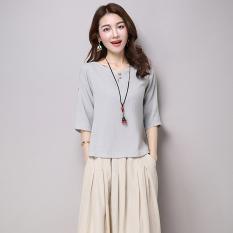 Jual Longgar Etnis Angin Sepatu Linen Warna Solid Lengan T Shirt Pakaian Wanita Kemeja Abu Abu Terang Baju Wanita Baju Atasan Kemeja Wanita Blouse Wanita Other Online