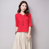 Ulasan Mengenai Longgar Etnis Angin Sepatu Linen Warna Solid Lengan T Shirt Pakaian Wanita Kemeja Merah