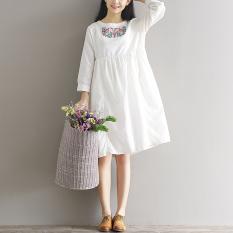 Toko Longgar Gadis Mori Kain Linen Baru Retro Bordir Gaun Putih Lengkap