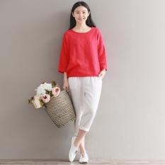 Longgar Gadis Mori Kain Linen Warna Polos Bawahan Atasan Kaus (Merah) Baju Wanita Baju Atasan Kemeja Wanita