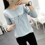 Tips Beli Xianyuansu Kaos Wanita Simpel Lengan Panjang Motif Cetak Banyak Warna 184 Biru Baju Wanita Baju Atasan Kemeja Wanita