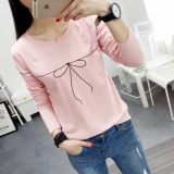Jual Beli Online Xianyuansu Kaos Wanita Simpel Lengan Panjang Motif Cetak Banyak Warna 184 Merah Muda