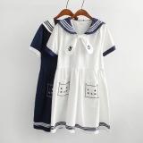 Spesifikasi Longgar Gaya Jepang Bordir Soft Kucing Gaun Biru Tua Baju Wanita Dress Wanita Gaun Wanita Yg Baik