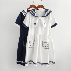 Jual Longgar Gaya Jepang Bordir Soft Kucing Gaun Biru Tua Baju Wanita Dress Wanita Gaun Wanita Online Di Tiongkok
