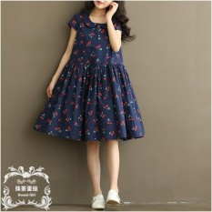 Harga Longgar Gaya Jepang Kain Linen Kerah Boneka Dicetak Cherri Gaun Biru Tua Baju Wanita Dress Wanita Gaun Wanita Asli