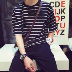 Longgar Gaya Jepang Lengan Pendek Pria Kaus (Selutut Lengan Bergaris Lengan) Baju Wanita Baju Atasan Kemeja Wanita