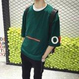Harga Longgar Gaya Jepang Remaja Kantong Besar T Shirt Hijau Gelap Baju Atasan Kaos Pria Kemeja Pria Fullset Murah
