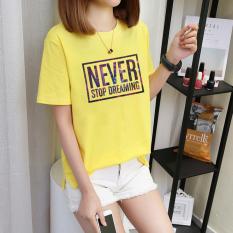 Longgar Huruf Cetak Warna Permen Baju Dalaman Musim Panas Lengan Pendek Kaos (Warna Kuning Emas)
