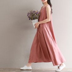 Dress Tanpa Lengan Perempuan Diperpanjang Rok Bahan Linen (Biru Tua Warna)