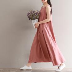 Jual Longgar Kain Linen Perempuan Diperpanjang Dress Tanpa Lengan Gaun Merah Muda Baju Wanita Dress Wanita Gaun Wanita Branded Original