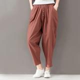 Review Terbaik Longgar Kain Linen Pinggang Elastis Kaki Kecil Celana Cargo Celana Baggy Kopi Warna Baju Wanita Celana Wanita