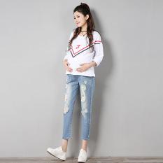 Longgar Kaki Kecil Musim Semi Dan Musim Gugur Baru Celana Wanita Hamil Celana Jeans Sobek (Angkatan Laut Biru Klasik Terlihat Langsing)