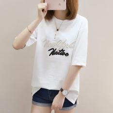 Jual Kaos Wanita Lengan Pendek Bordir Model Longgar Gaya Korea 735 Putih Grosir