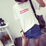 Toko Longgar Kasual Musim Semi Leher Bulat Huruf Baju Dalaman T Shirt Hitam Baju Wanita Baju Atasan Kemeja Wanita Online Tiongkok