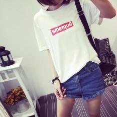Iklan Longgar Kasual Musim Semi Leher Bulat Huruf Baju Dalaman T Shirt Hitam Baju Wanita Baju Atasan Kemeja Wanita