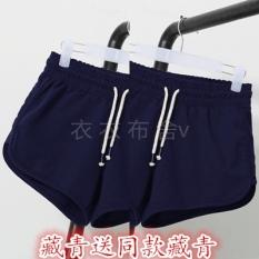 Longgar Kasual Perempuan Berlari Kebugaran Celana Olahraga Kebugaran Celana Pendek (Beli Satu Gratis Satu Biru Old untuk Mengirim Model sama Biru Tua)