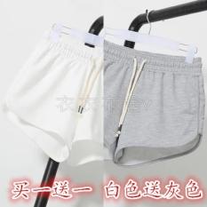 Longgar Kasual Perempuan Berlari Kebugaran Celana Olahraga Kebugaran Celana Pendek (Beli Satu Gratis Satu Putih untuk Mengirim Abu- abu)
