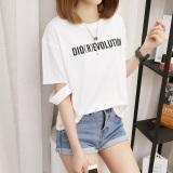 Beli Kaos Wanita Versi Hongkong Model Sobek Lengan Pendek 161 Putih Oem Dengan Harga Terjangkau