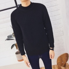Harga Longgar Kasual Remaja Laki Laki Pullover Sweater Korea Fashion Style Kerah Tinggi Sweter 1616 Kerah Tinggi Hitam Branded