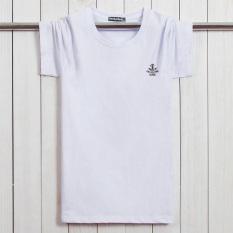 Longgar Katun Lengan Pendek Yard Besar Orang Gemuk Baju Dalaman Kaus (Putih)
