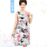 Review Longgar Katun Sutra Tanpa Lengan Setengah Panjang Model Gaun Musim Panas Gaun Tidur Lukisan Tinta Di Tiongkok
