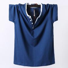 Beli Longgar Katun Warna Solid Pria Lengan Pendek Musim Panas T Shirt Biru Baju Atasan Kaos Pria Kemeja Pria Seken