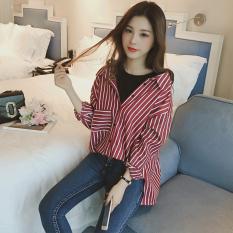 Longgar Korea Fashion Style Lengan Panjang Bergaris Pada Kaos Baju Dalaman (Merah Marun)