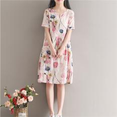Longgar Korea Fashion Style Baru Dicetak Setengah Panjang Model Rok Berbentuk Huruf A Ukuran Besar Gaun (Gambar Warna) baju wanita dress wanita Gaun wanita