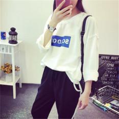 Jual Longgar Korea Fashion Style Baru Musim Semi Bernapas Kaos Sweater Kaos Putih Murah Tiongkok