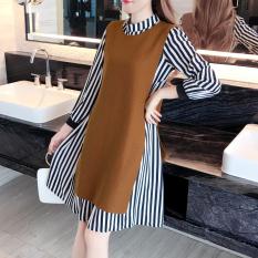 Longgar Korea Fashion Style Baru Setengah Panjang Model Lengan Panjang Bergaris Gaun (Coklat Muda Warna) baju wanita dress wanita Gaun wanita