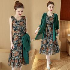 Longgar Korea Fashion Style Baru Sifon Cetak Gaun (Hijau Gelap)