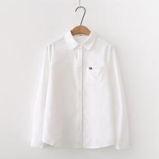 Longgar Korea Modis Gaya Bordir Warna Polos Perempuan Baju Dalaman Lengan Panjang Kemeja (Putih)
