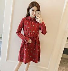 Longgar Korea Modis Gaya Bulu Halus Ukuran Besar Dapat Rok Baju Hamil Gaun (Merah)