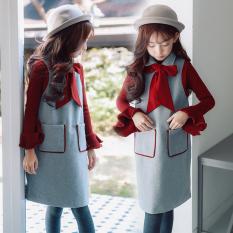 ... Longgar Korea Fashion Style Gadis Wol Rompi Rok Abu abu OEM Pakaian Anak