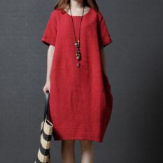 Longgar Korea Fashion Style Kain Linen Warna Solid Baru Ayat Pendek Gaun (Merah) baju wanita