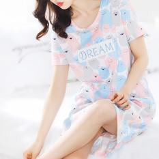 Jual Longgar Korea Fashion Style Katun Wanita Musim Panas Rok Gaun Tidur Merah Muda Warna
